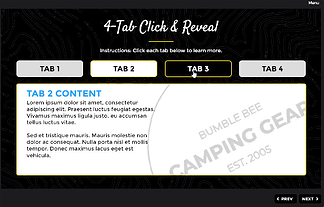 bumblebee 4-tab click to reveal layout, with tab 3 selected