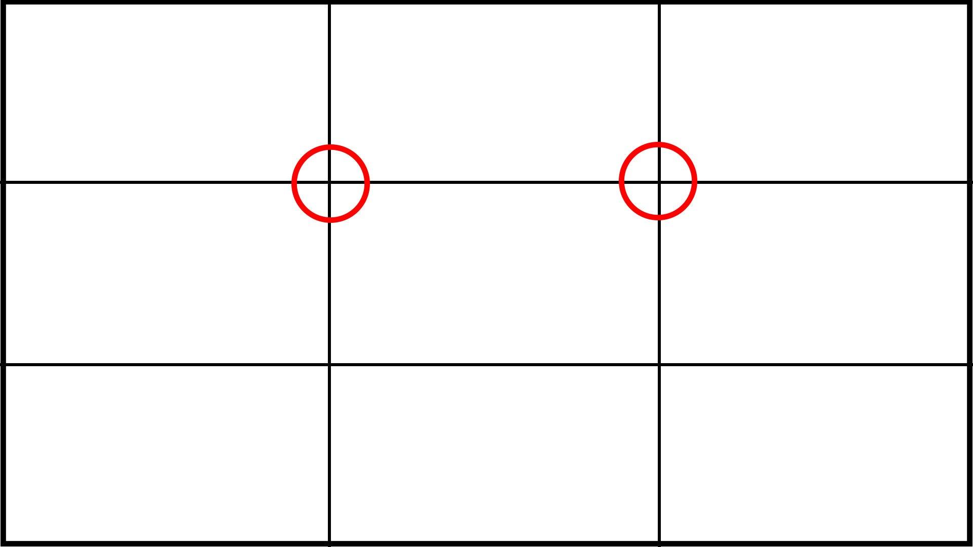 video framing rule of thirds cross hairs