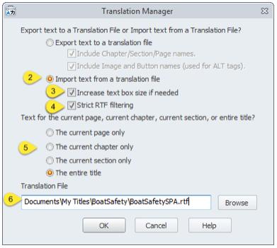 Setting the RTF translation file to use