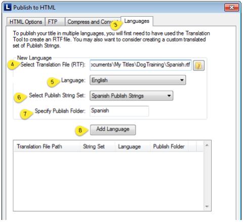 Publish to HTML window