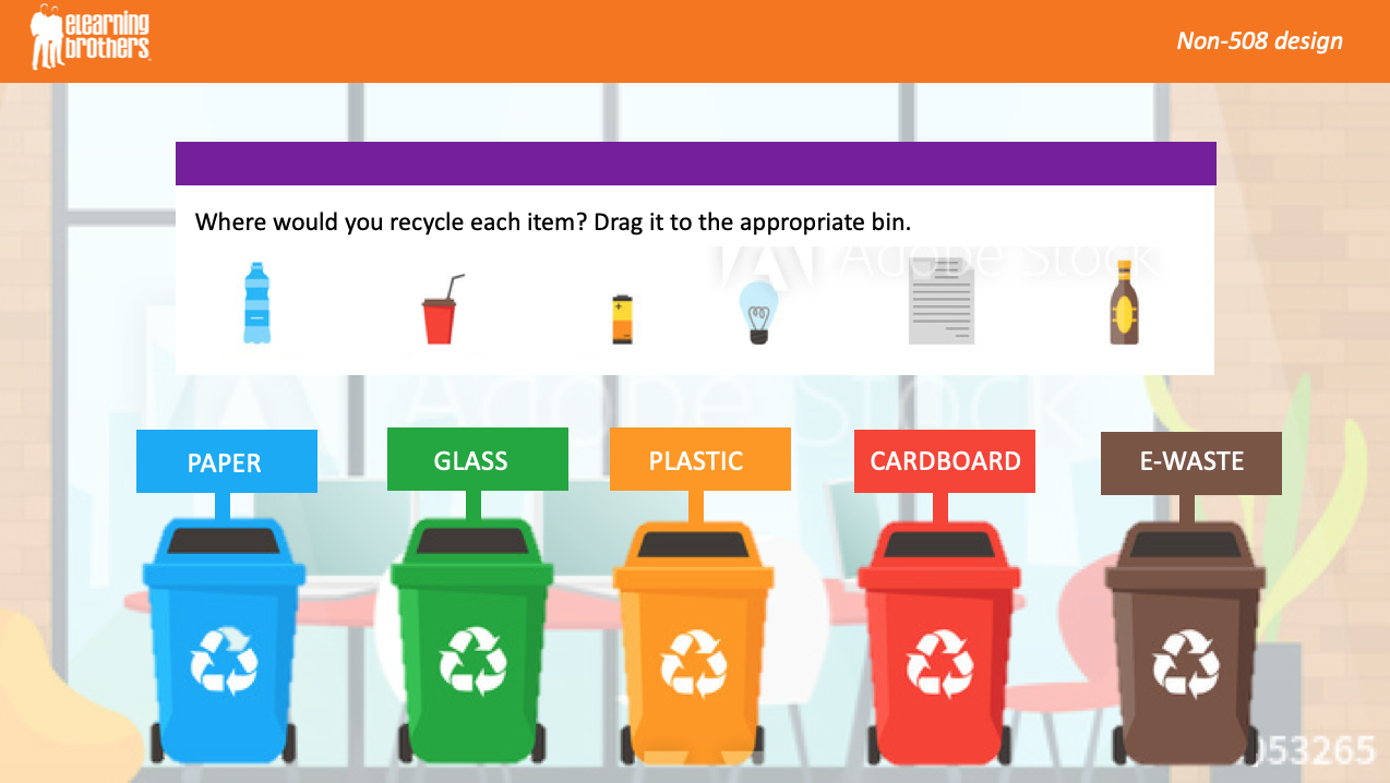 drag and drop recycling bins