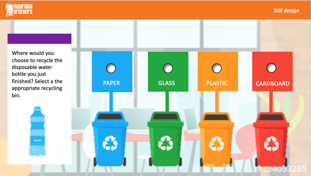 single select radial button recycling bins