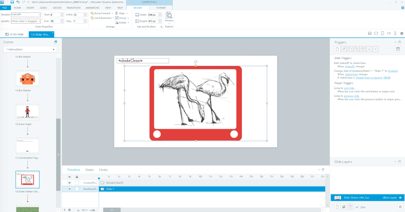 creating interactivity - etch a sketch example - showing storyline screen
