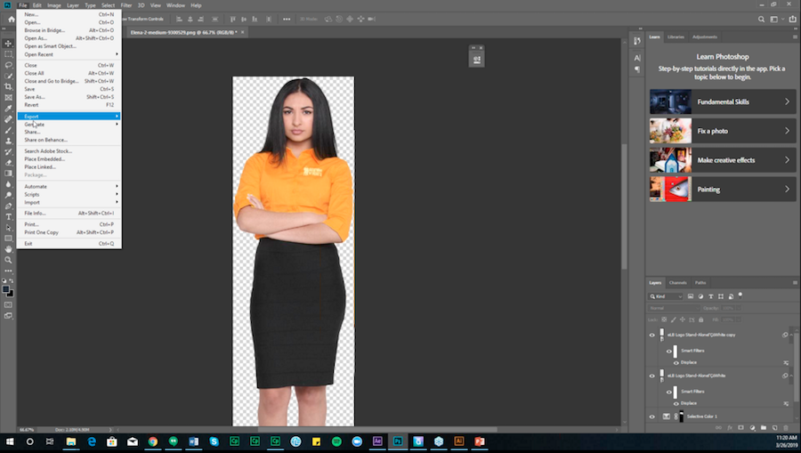 Screenshot of Andrew's tutorial on how to change a shirt color in Photoshop