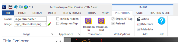 Logo Placeholder image Properties on the Ribbon view, showing the Empty ALT Tag checked ON