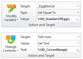 modify variable and change contents action