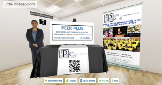 Virtual booth with cutout character, QR code, and virtual posterboard.