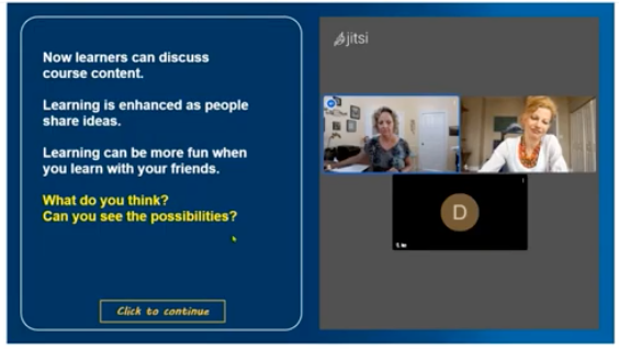 screenshot of course with embedded jitsi video chat