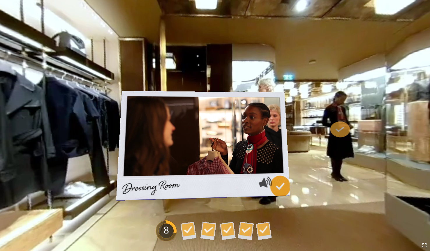 Image from a mobile-friendly, immersive 360 training course created for Fendi. Polaroid-style frame with a video inside it showing a customer leaving clothes in a dressing room.