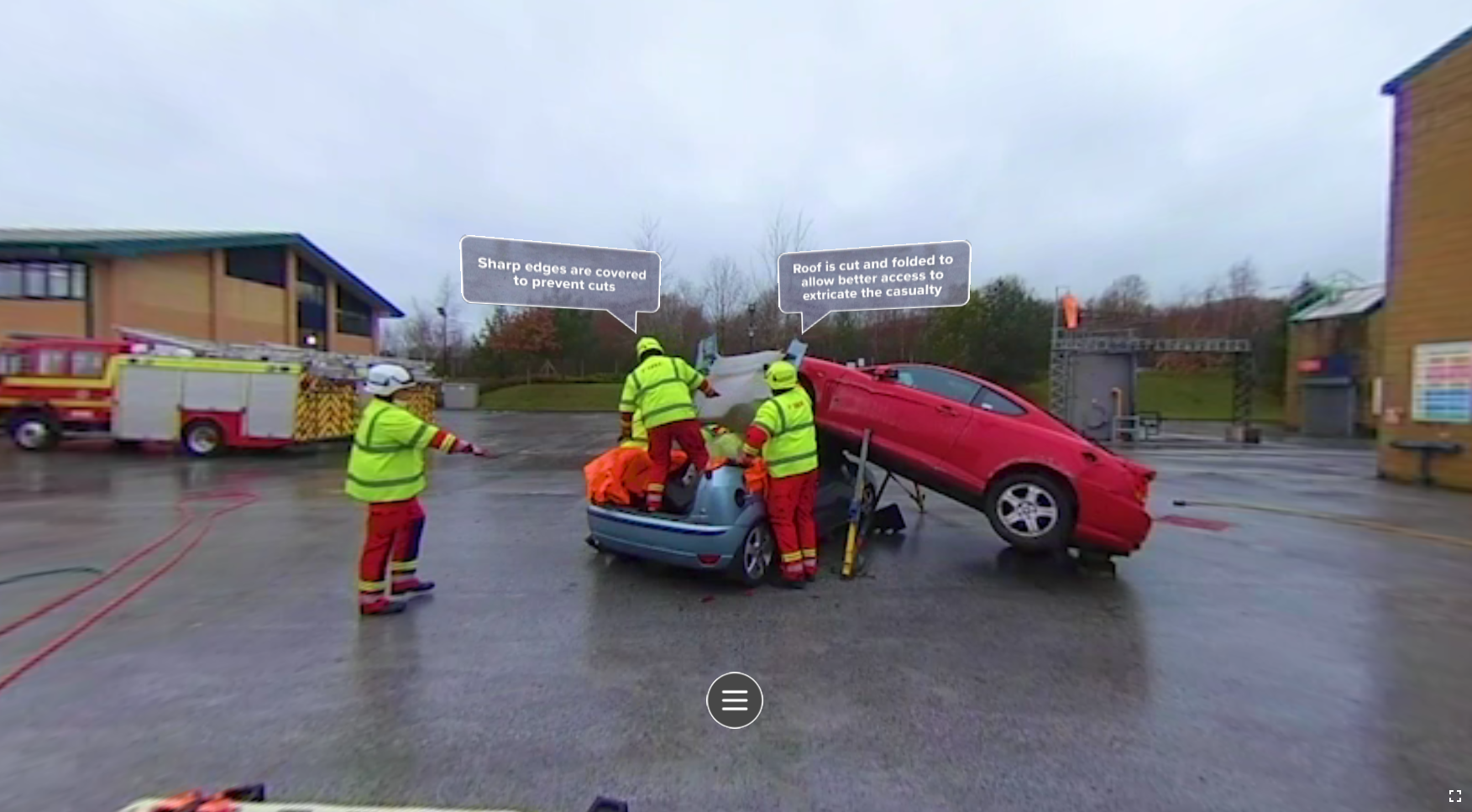 Image from the immersive training, where firefighters respond to the scene of a collision, where they extract and rescue a victim.