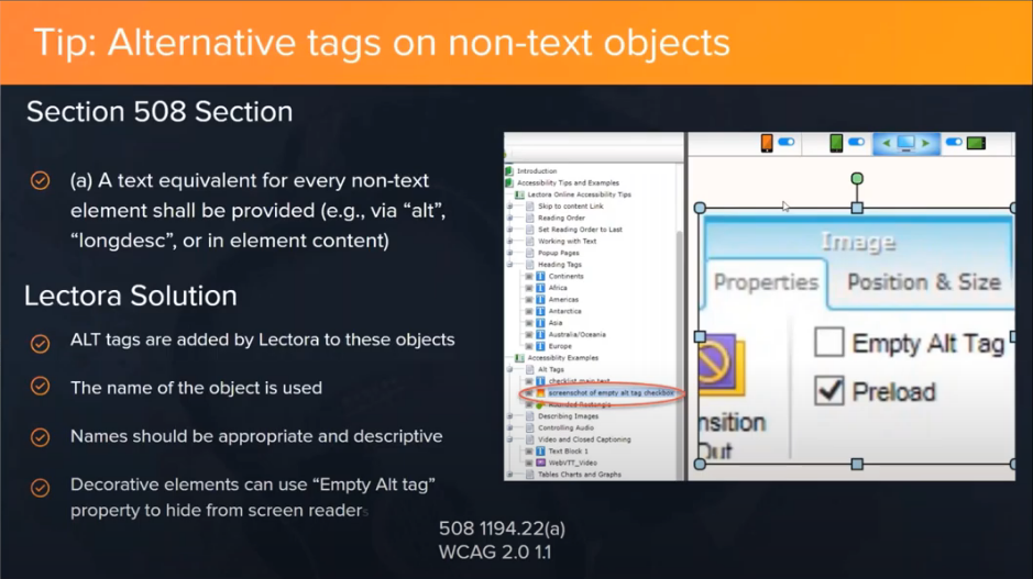 lectora accessibility tip about alt tags