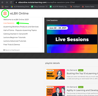 How to find the live session playlist from the side menu