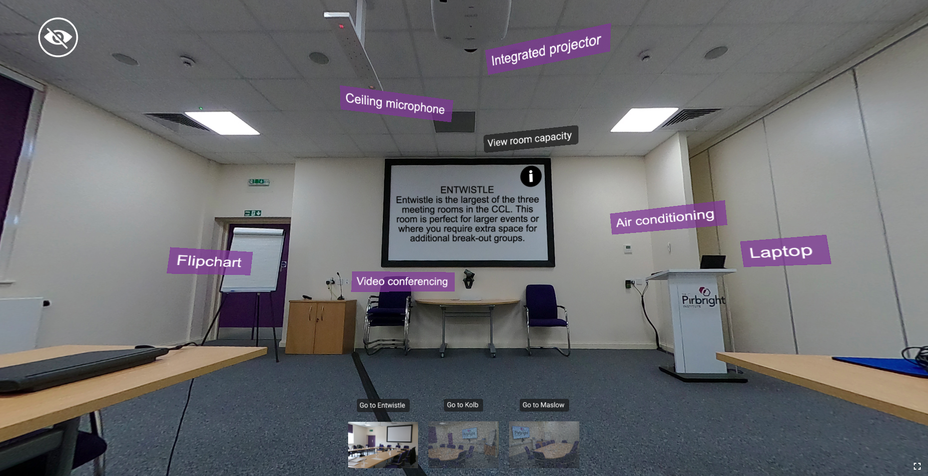 Image of a conference room with text boxes calling out different features