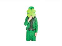 stock photo of a leprechaun hiding behind a giant clover