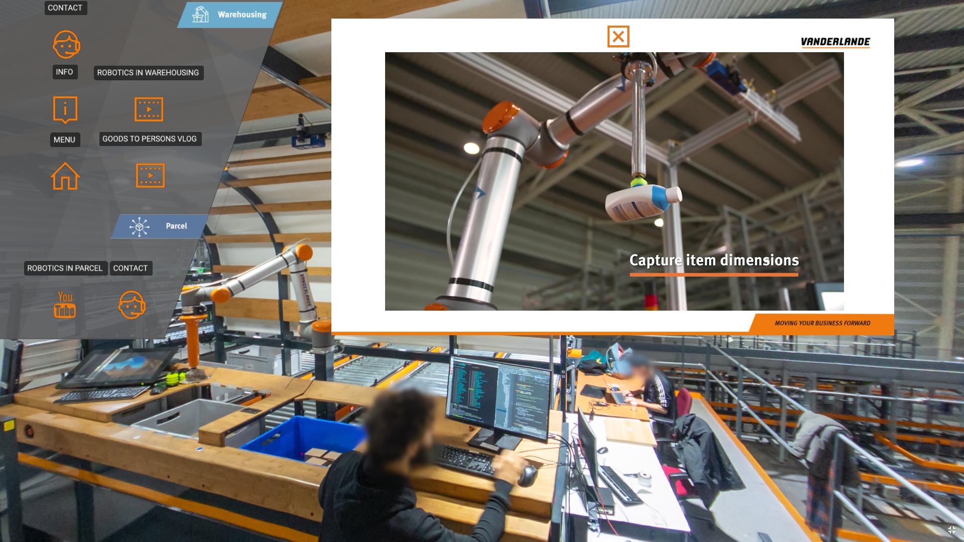 screenshot of a video embedded in the Vanderlande Innovation Center virtual tour
