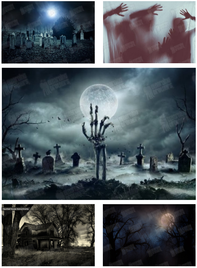 Creepy stock photos of cemeteries, skeletal hands, and haunted houses