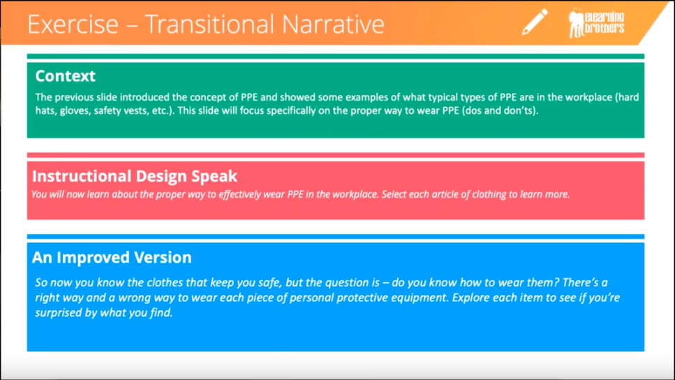 Example of rewriting a transitional narrative