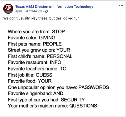 Facebook Meme Security Questions