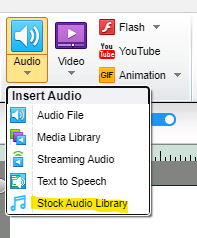 How to insert stock audio in Lectora Online