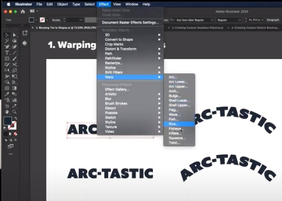 How to warp text in Illustrator